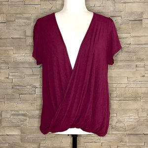 Free People plum twist-front top